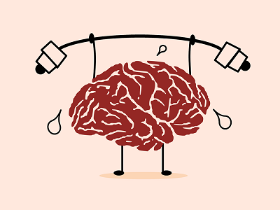 A picture of human brain lifting weight