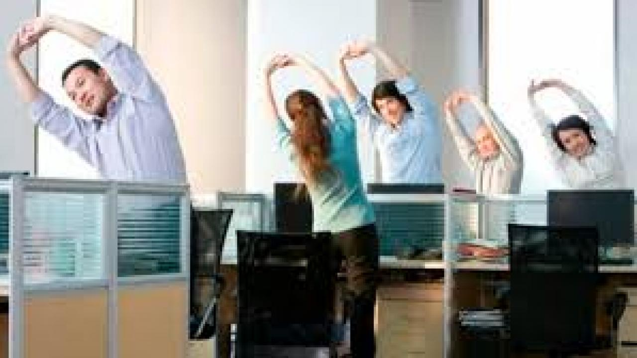 group of colleagues stretching in the office