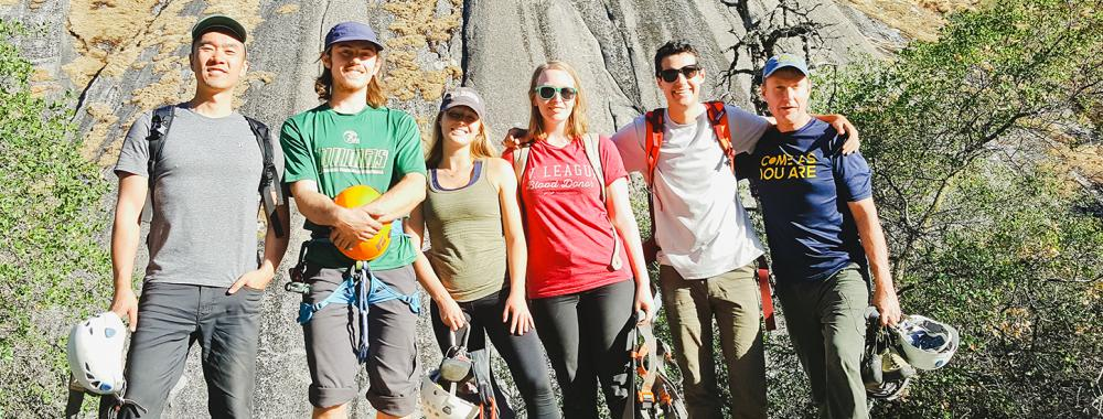 uc davis outdoor adventure group rock climbing together