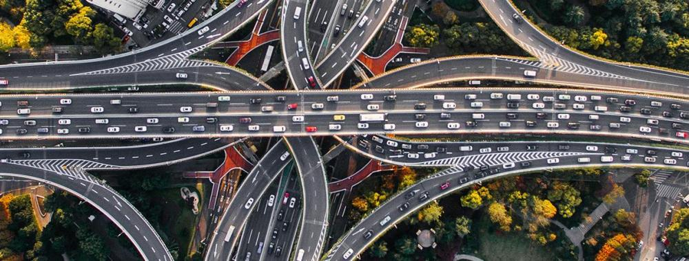 overhead shot of busy freeways